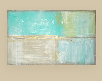 "Art Abstract Acrylic Painting Aqua and Taupe Fine Art Titled BEACH GLASS 11 30x48x1.5"" by Ora Birenbaum"