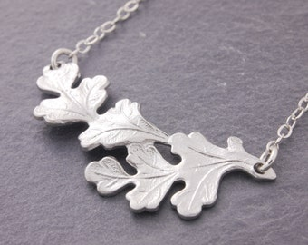 Oak Leaf Necklace, silver leaf necklace, leaf charm necklace, leaf pendant, nature jewelry, holiday sale, realistic leaf, N6