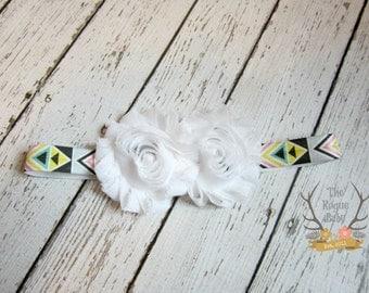 Aztec Headband -  White Gray Black Pink Yellow Aqua - Photo Prop - Newborn Infant Baby Toddler Girls Adult