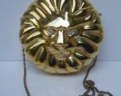 Ornate Gilt Metal Lion Evening Bag c 1980s