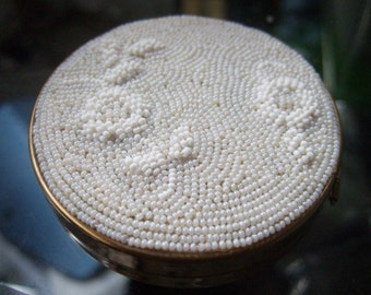 Vintage White Glass Beaded Flower Compact c 1960