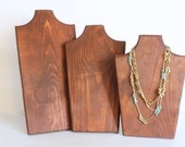 Wood Jewelry Display SET of 3, Wood Necklace Display, Necklace Stand, Jewelry Stand, Necklace Bust, Necklace Holder, Choose the Stain & Edge