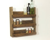 Wood Spice Rack, Rustic Spice Rack, Spice Shelves, Spice Cabinet, Rustic Kitchen Decor, Choose the Stain