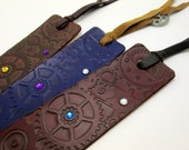 leather steampunk bookmark, gears and gems, tassel with metal gear, black, blue, green, red, yellow, orange, brown