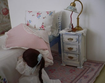 Dollhouse Miniature Shabby Chic One Inch Scale Little Girl Praying at Bedside