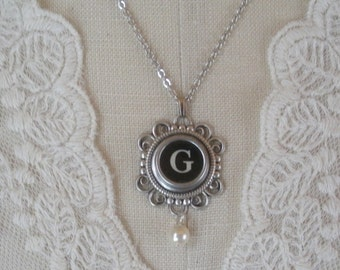 Typewriter Key Necklace with Glass Pearl-- Choice Of Letter--