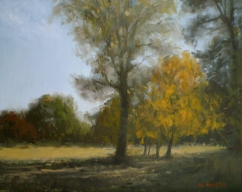 Original oil painting - Autumn Trees, Late Afternoon