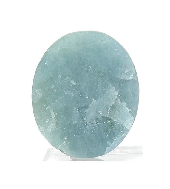 blue aquamarine gemstone oval cabochon contour by