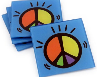 Peace Tempered Glass Coasters