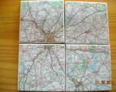 Map of Atlanta, Georgia and surrounding area - Ceramic Tile Coasters - Set of 4