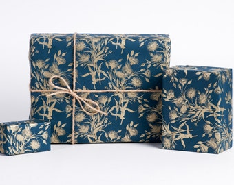 Bouquet of Gold / Wrapping Paper / Navy+Gold