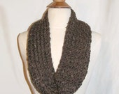 Chocolate Brown with Flecks of Cream and Black  Knitted Infinity Cowl Scarf