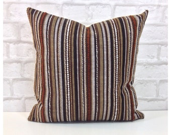 """Vintage 60s 70s Retro Brown Fabric Cushion Cover 16"""" x 16"""""""