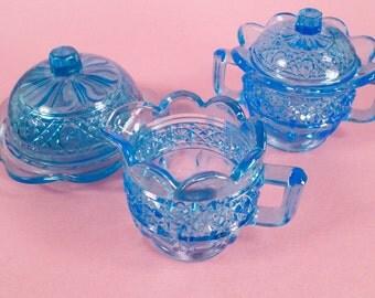 Vintage Mini Pressed Glass, Covered Butter, Cream Pitcher,Sugar Bowl, Mosser, Ohio Glass, Mint in Box, Gala Hawaiian, Lei Miniature