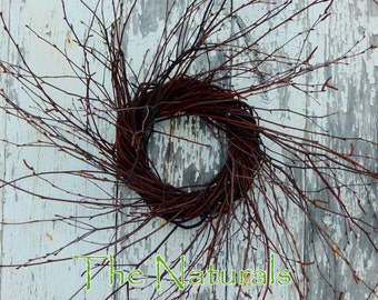 "8"" Hand Wrapped Wild Primitive Rustic Farmhouse Birch Twig Wreath"