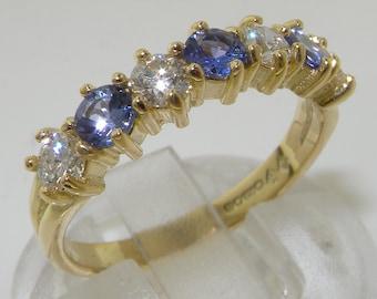 14k Yellow Gold Natural AAA Tanzanite & 0.4 Carats Precious Diamond Engagement Ring, Wedding Ring, 7 Stone Half Eternity Band - Customizable