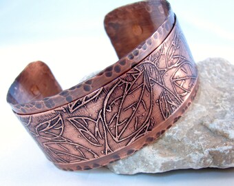 copper cuff etched leaves