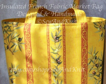 French Market Bag, Insulated Provence Shopping Tote or Handmade Provencal Gift Bag in Cotton Fabric with Quilted Lining - Olives in Yellow