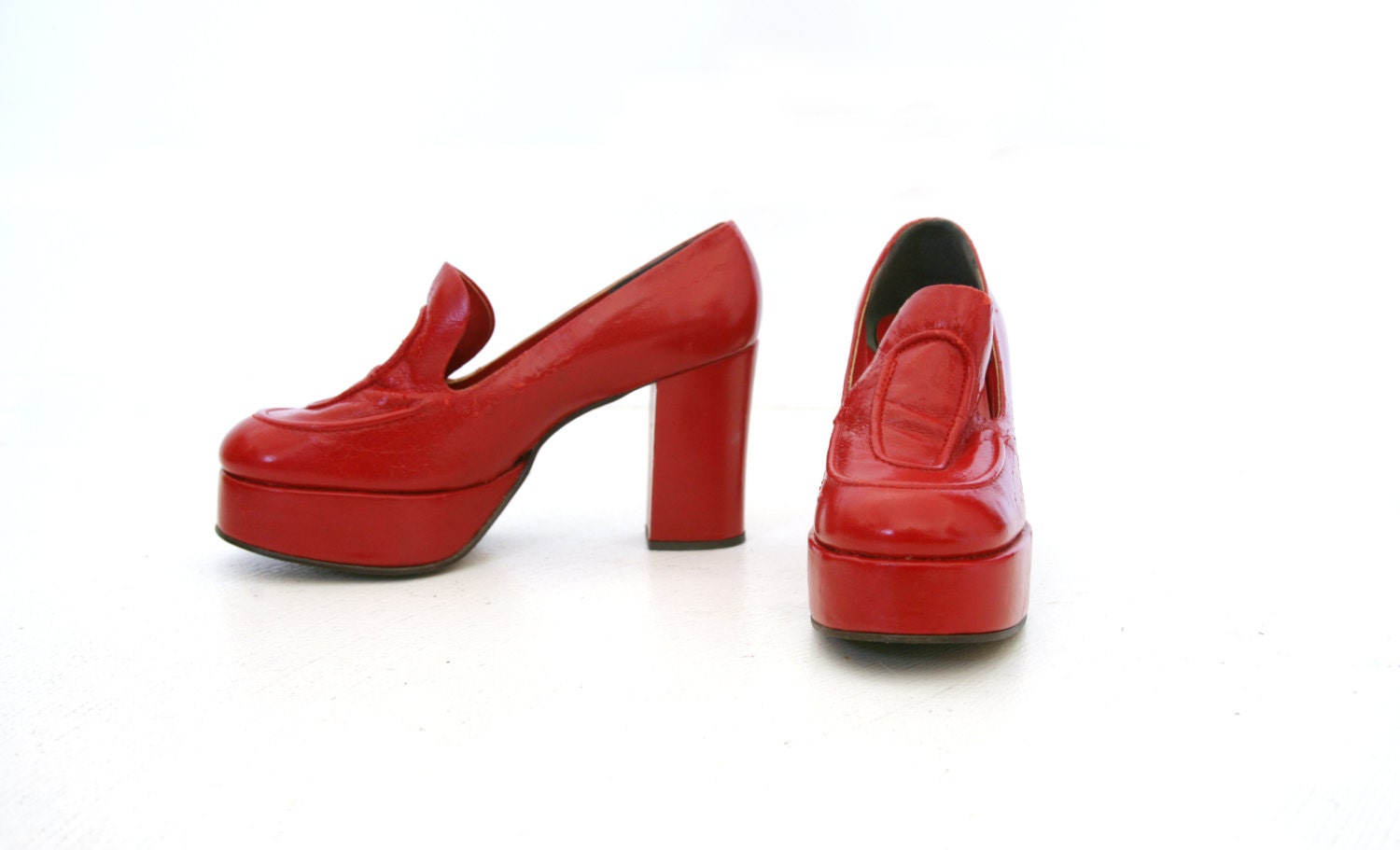 vintage 70s platform shoes leather loafers by