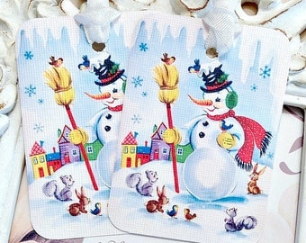 Shabby Snowman Gift Tags (6) Christmas Gift Tags-Treat Tags-Christmas Favor Tag-Snowman Favor Tags-Shabby Christmas Tag-Let it Snow Tags