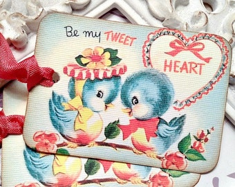 Tweet Heart Bird Valentine Gift Tags (6) Retro Valentine Card-Shabby Valentine Tag-Love Gift Tags-Favor Tag-Treat Tags-Classroom Valentine