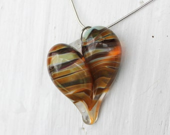 Heart Necklace Glass, Boro Focal Bead, Lampwork Jewelry, Hand Blown Boro Pendant, Handmade Heart, Golden color