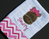 Personalized, appliqued burp cloth with precious girly horse with bow