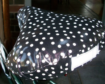 Bicycle Seat Cover Black & White Polka Dots - Weatherproof