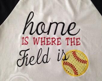 Home is where the field is - Baseball Tee - Softball Tee - Bling - Sparkle