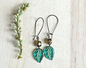 Green and Gold Leaf Earrings Dangle Earrings Boho Earrings - T143-K