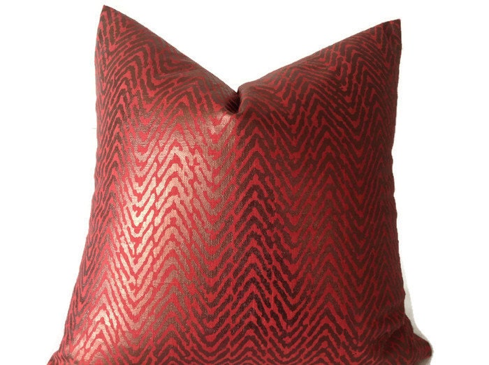 Red Throw Pillows Etsy : Pillows Red Metallic Pillows Decorative Throw Pillow Covers