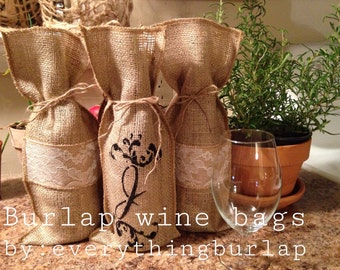 Burlap monogram wine bag