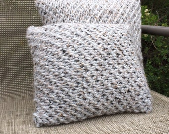 Gray Knit Pillow Set - Hand Knitted Cushions - Textured 16x16 and 12x12