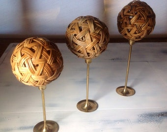 Hand Styled Wicker Orbs upon Vintage Brass Stems Set of Three Tabletop Decor Finials