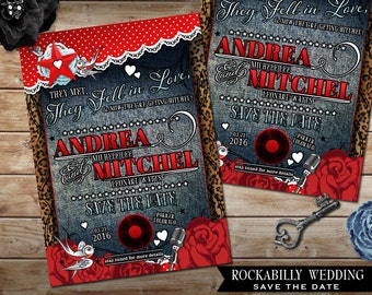 Rockabilly Wedding Save the Date Card, Polka Dot and Lace, Offbeat Wedding Invite, Denim Invite with Roses, Records and Hearts DIY Invite