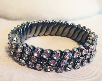 Grandmother's Vintage Antique Clear Rhinestone Cluster Stretchable Bracelet Jewelry