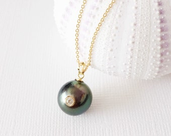 Diamond tahitian pearl necklace - tahitian pearl necklace - pearl necklace (N163)