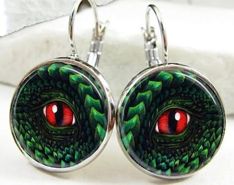 Dragon Eye Leverback Glass Dome Earrings (ER0176)