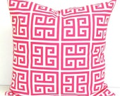 PINK PILLOW.16x16 inch.Pink Pillow.Pillow Cover.Decorative Pillows.Throw Pillow Cover.Housewares.Greek Key Pillow.Pink.Bright Pink Accent.cm