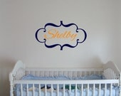 """13.25"""" x 23"""" Scroll Border with Personalized Script Name - Vinyl Wall Decalz"""