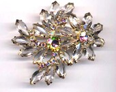 DeLizza and Elster aka Juliana Clear Flowers Brooch  Item: 14131