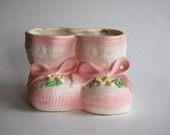 Vintage Baby Shoe Planter, Nursery Room Decor, Baby Shower