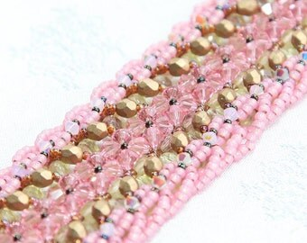 Embellished Right Angle Weave Bracelet - Bronze and pale pink tones
