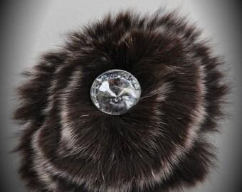 Silver Brown Fur Flower Brooch With Crystal