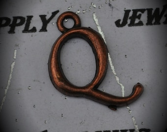 Letter Q Red Copper Charm