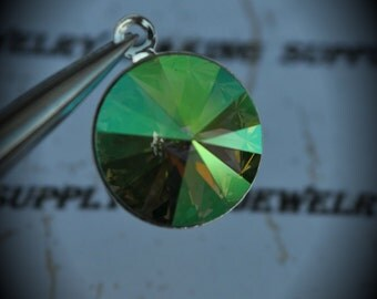 Silver Plated Genuine Swarovski Crystal 14mm Rivoli Charm- Peridot AB