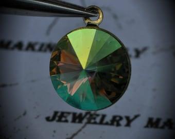 Gold Plated Genuine Swarovski Crystal 14mm Rivoli Charm- Peridot AB