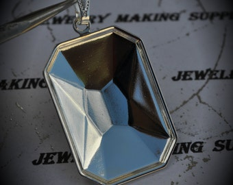 SALE Silver Plated Octagon Brass Setting Pendant For Swarovski 27x18mm faceted emerald cut fancy stone 4627