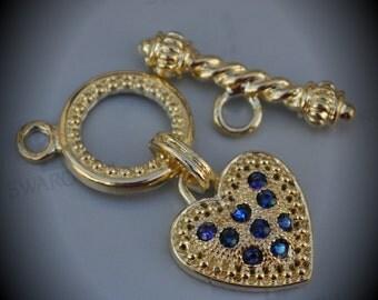 Genuine Large Gold Plated Swarovski Crystal Heart Toggle Clasp - Bermuda Blue