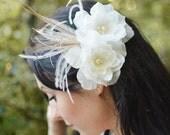 Bridal Silk Hair Flowers, Bridal Hair Flower, Ivory Flower and Feather Headpiece